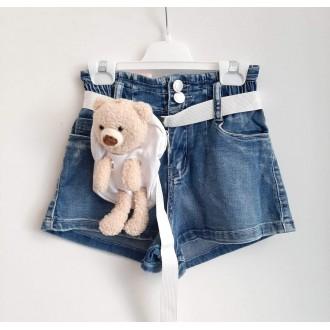 Къси дънкови панталони за момиче с колан/ с чанта мече/