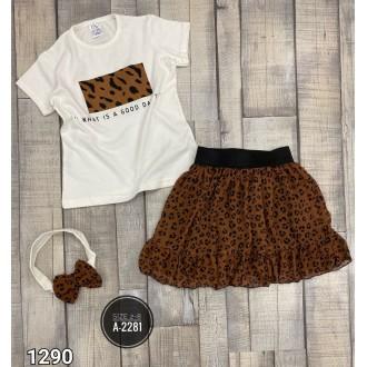 Комплект от 3 части - тениска , пола и лента за глава