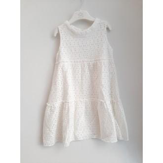 Бяла дантелена рокля - 110,116,128,134,140,164 см.