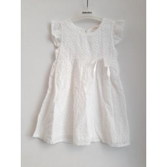 Бяла дантелена рокля - 104,110,128 см.
