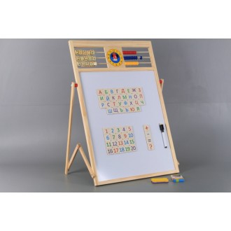 Дървена ученическа дъска с българската азбука , цифри и сметало и часовник с две лица, височина 60 см.